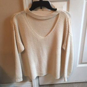 Cut-Out Neck Sweater